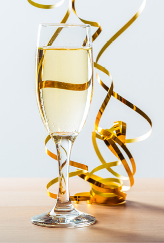New Years Eve Celebration With Champagne Glass